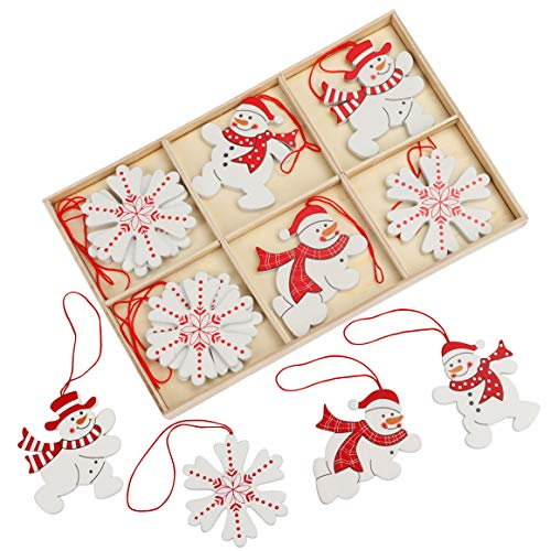 BELLE VOUS Suspension Noel Bois (12 pièces) - Decoration Sapin de Noel en Bois, Bonhomme de Neige et Flocons avec Ficelle - Decoration Noel Bois et Blanc et Rouge pour Déco de Fêtes de Noël