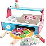 bee SMART Pizza Party Set in Legno Cibo Giocattolo e Accessori per Bambini con 30+ PCS
