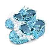 Bebé Niña Zapato de Princesa con Cinta Mágica para 0-18 Meses Niños Primeros Pasos Zapatos de Cuero con Lazo Casual Moda Antideslizante Flor Suave Suela Corona de Corazón
