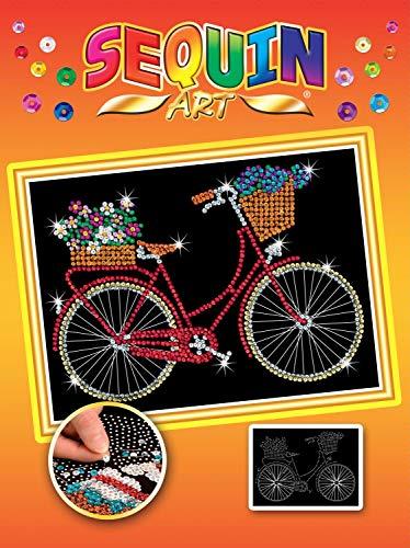 MAMMUT 8031716 - Sequin Art Paillettenbild Fahrrad, Steckbild, Bastelset mit Styropor-Rahmen, Bildvorlage, Pailletten, Steckstiften, Anleitung, für Kinder ab 8 Jahre