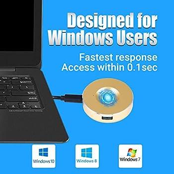 Acekool Lecteur d'empreinte Digitale USB pour Windows 10 8 7, biométrie d'empreinte Digitale HUB Connexion pour PC et Ordinateurs Portables (Or)