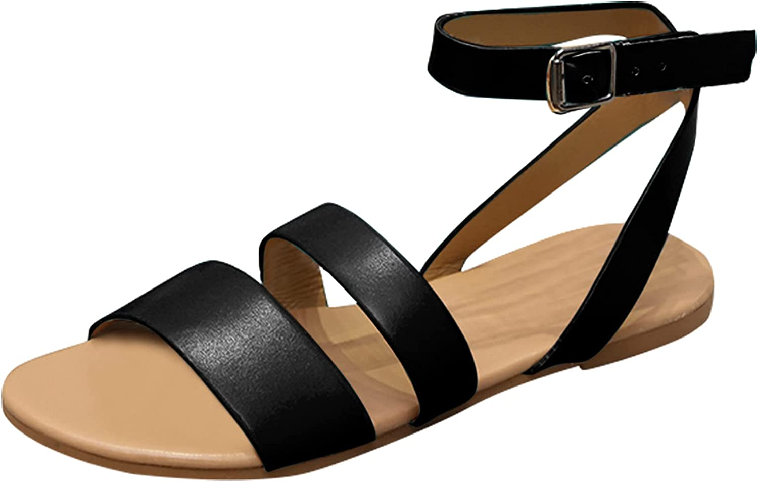 Sandals for Women Flat Casual Summer Ankle 5 ☆ very Minneapolis Mall popular Toe with B Beach Open