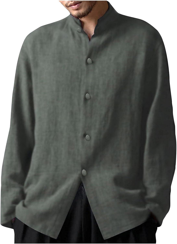LEIYAN Mens Linen Button Down Shirts Casual Long Sleeve Stand Collar Bohemian Capri Yoga T-Shirts Tops