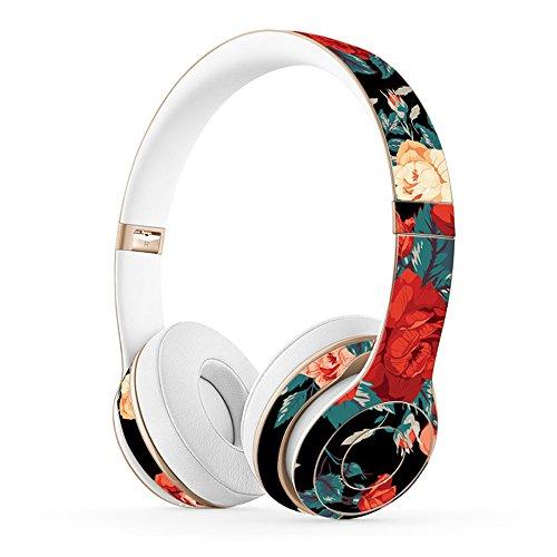 MasiBloom® Creative Headset Beschermende Sticker Cover Volledige Body Oortelefoon Huidsticker voor Beats Solo 2 Draadloze & Solo 3 Draadloze On-Ear Hoofdtelefoon, for Solo 2/3 Wireless, Peony- Red with Black
