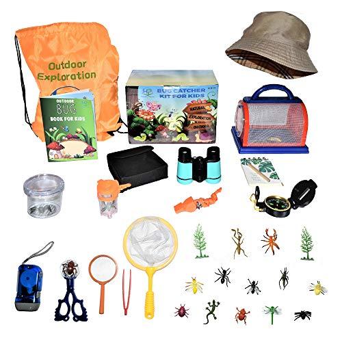 Happy Packz Bug Catcher Kit for Kids 30 PCS, Hat, Kids Camping Stuff, Bug Catcher, Bug Toys, Camping Toys, Compass for Kids, Binoculars for Kids, Butterfly Net, Bug House, Kids Explorer Kit