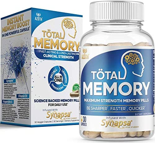 AZOTH Total Memory Supplement for Brain Extra Strength Memory Pills to Boost Recall Cognition product image
