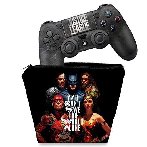 Capa Case e Skin Adesivo PS4 Controle - Liga Da Justiça