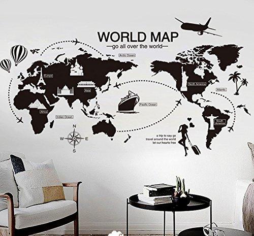 Pegatina de pared vinilo Mapa del Mundo original diseño para estudios, oficina, dormitorios, escaparates, cristal, salones, loft, aticos, comedores NOVEDAD 2018 de CHIPYHOME
