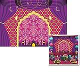 7x5ft Purple Birthday Party Backdrop Egyptian Moroccan Arabian Gold Indian Bollywood Magic Genie Photo Background W-2024
