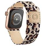 Goosehill Kompatibel mit Apple Watch Armband,Stoff Nylon Gewebt Ersatzband mit Leder Futter und...