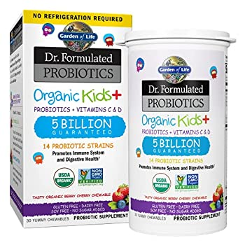 Garden of Life Dr Formulated Probiotics Organic Kids+ Plus Vitamin C & D Chewables Tablets Gluten Dairy & Soy Free Immune & Digestive Health Supplement No Added Sugar Berry Cherry 30 Count