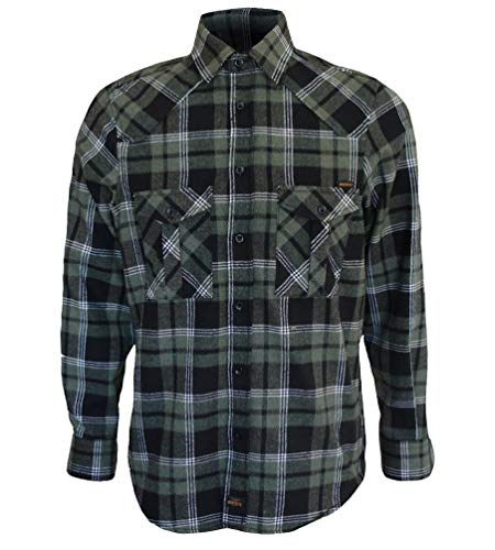 ROCK-IT Apparel® Camisa de Franela de Manga Larga para Hombres Camisa de leñador a Cuadros Fabricada en Europa Rojo Negro Verde Oliva L
