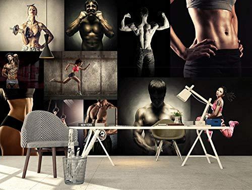 ZJJBH Selbstklebende 3D-Tapete Hintergrund Wand (B) 200X (H) 150Cm Fitness-Studio Bodybuilding-Figuren Muskel Männlich Männlich Wohnzimmer Schlafzimmer Büro Bar Shop Wanddekoration Hintergrund - 3D K
