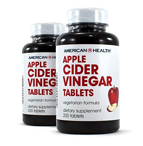 American Health Apple Cider Vinegar Tablets (2 Pack) - Balanced Diet and Exercise Program Support, No Tart Vinegar Taste - Non-GMO, Gluten-Free, Vegetarian - 480 mg, 200 Count - 200 Total Servings