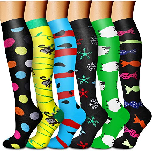CHARMKING Compression Socks for Women & Men Circulation 6 Pairs 15-20 mmHg is BEST Graduated for Nurse, Support, Athletics, Cycling, Running, Flight Travel, Pregnancy Boost Performance (Multi 05,L/XL)