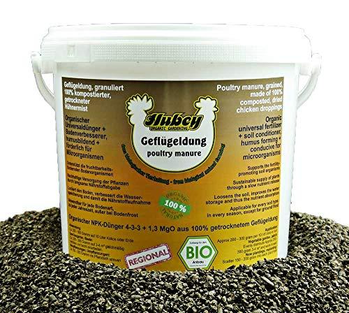 Hubey Bio Naturdünger aus Hühnermist (3 kg) I Hochwirksamer Hühnerdung u. organischer Bodenverbesserer I Universal Dünger vom Biohof