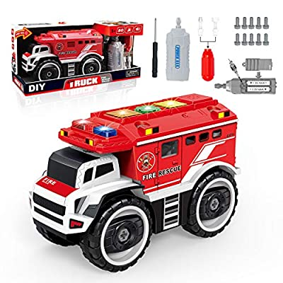 Take Apart Electric Fire Engine Trucks with Lights 07042021064530