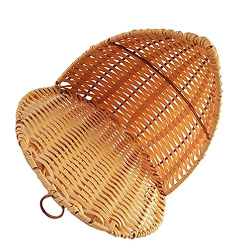 Artibetter Cesta de Mimbre en Forma de Concha Bandeja de Mimbre Organizador de Utensilios de Bambú Bandeja para Servir Recipiente Tejido para Maquillaje Artículos Pequeños 25X25CM