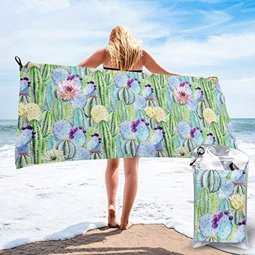Toalla de secado rápido de microfibra Cactus Super Absorbente Toallas deportivas de secado rápido para viajes al aire libre, playa, gimnasio, camping, mochilero 31.5 × 63 pulgadas