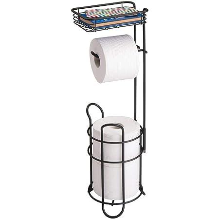 mDesign porte papier toilette – dérouleur papier toilette élégant en métal – distributeur papier toilette avec étagère – idéal pour rangement salle de bain – noir mat