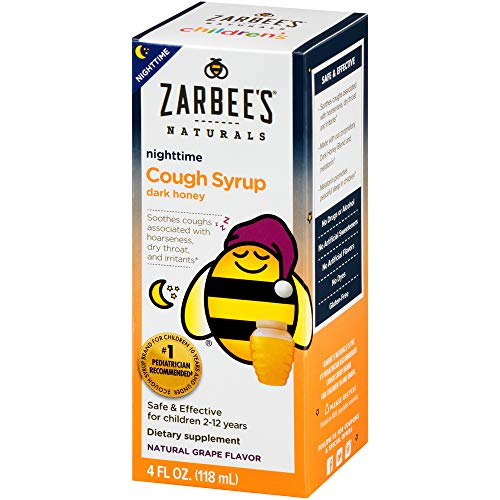 Zarbee's Naturals Children's Cough Syrup* with Dark Honey Nighttime, Grape Flavor, 4 Ounce Bottle
