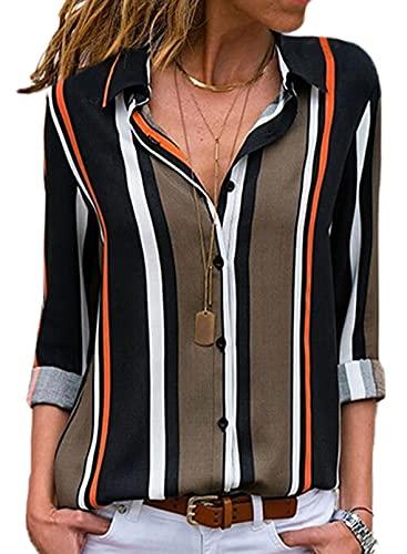 Aleumdr Bluse Damen Elegant Hemd Streifen Business Bluse Damen Bluse Hemdbluse Damen sexy Tops Casual Damen Oberteile Top Schwarz M