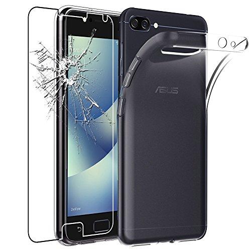 ebestStar - kompatibel mit Asus Zenfone 4 Max Hülle ZC554KL (Pro, Plus) Handyhülle [Ultra Dünn], Klar Flex Silikon Schutzhülle, Transparent +Panzerglas Schutzfolie [Phone: 154x76.9x8.9mm 5.5