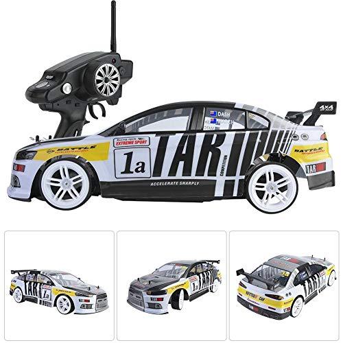 Dilwe Fernsteuerungsrennwagen, 2.4G RC Hochgeschwindigkeits-Drift-Auto-Doppelbatterielager 1:10 RC-Modellfahrzeug-Spielzeug( 2 stücke batterien)