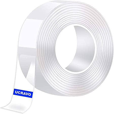 UCRAVO Double Sided Tape Heavy Duty, Transparent Strong Adhesive Mounting Trackless Removable Washable for Tape for Posters, Carpets, Photo Frames, Kitchen,Office,Car Decor(3 Meter).