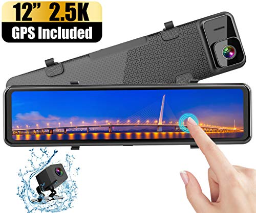 """Mirror Dash Cam for Cars(GPS Packaged), WiMiUS Newest 12"""" 2.5K Dual Lens Waterproof Backup Camera with Full HD IPS Touch Screen, Super Night Vision & Sony Starvis Sensor/G-Sensor/Parking Assistance"""