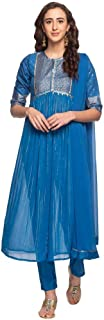 W for Woman Women's Synthetic a-line Salwar Suit Set