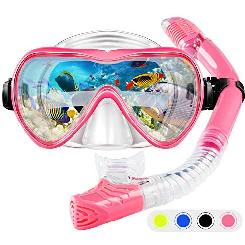 ZMteam Snorkel Set Snorkeling Gear Adults,Dry Top Diving Masks and Snorkel for Man Women, Easy-Breath Scuba Gear with Anti-Leak Anti-Fog Tempered Panoramic Glass for Diving, Swimming Pink