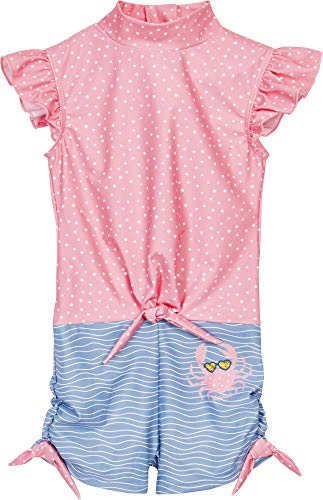 Playshoes Mädchen Einteiler Krebs Badeanzug, blau/pink, 110/116