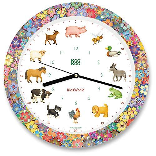 KOOKOO KidsWorld Garden Love, Bauernhofuhr mit 12 echten Tierstimmen, Quarzwerk