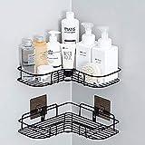 XIAPIA Duscheckregal ohne Bohren für Shampoo und Seifen   Rostfrei Duschhalterung mit Selbstklebender Kleber für Badezimmer 30 * 19 * 6 cm 2 Stück Schwarz