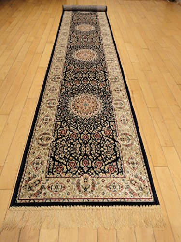 Silk Persian Area Rug Large 8x12 Navy Rug Dining Room 8x11 Living Room...