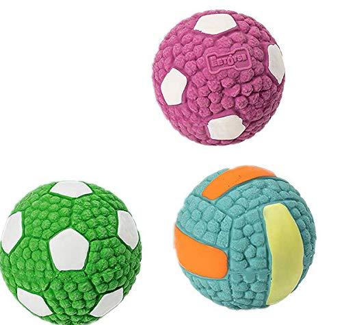 Queta 3PCS Hundespielzeug Hundeball Quietschball Latex Kauen Spielzeug für Hunde Hunde Zahnreinigung Spielball Kauspielzeug Hundezahnbürste Fußball Geeignet für kleine und mittlere Hunde