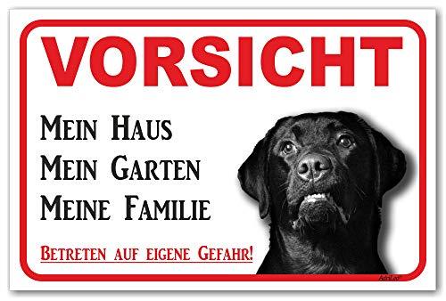 AdriLeo Schild - Vorsicht schwarzer Labrador Retriever - Mein Haus - (20x30cm) / Achtung Hund Wachhund