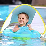 Toddler Pool Floats Self-Inflating Super Soft Anti-Flip Pool Float with Removable Sun Canopy Comfortable & Portable Pool Floats Ring for Toddler Infant Baby Boy Girl 3 to 48 Months