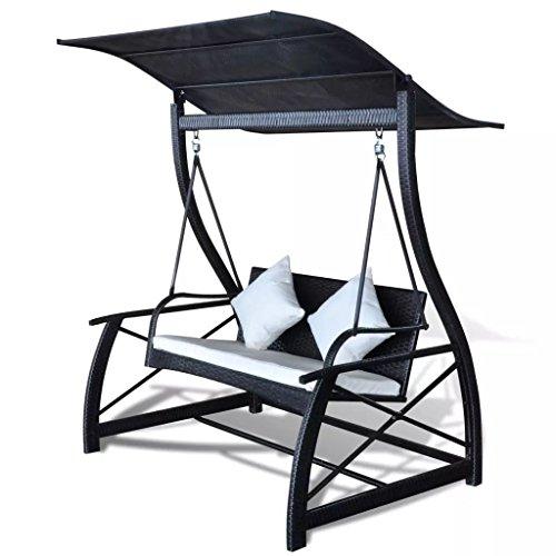 Festnight Hollywoodschaukel Gartenschaukel mit Sonnendach Polyrattan Schwarz 167x130x178 cm