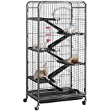 YAHEETECH 52-inch 6 Level Metal Critter Cage with 3 Front Doors/Feeder/Wheels Small Animal Cage Hutch for Ferret Bunny Indoor Outdoor,Black