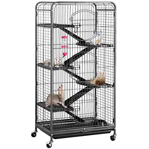 YAHEETECH 52-inch 6 Level Metal Critter Cage with 3 Front Doors