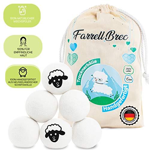 Farrell Brec [6 XXL] extra langlebige Trocknerbälle für Wäschetrockner - natürlicher Weichspüler aus 100{a6f1ec9c3a612ed2f835c9753886a2f4c69d8e7160b5c3b5e4e243352276561b} neuseeländischer Schafswolle - in Handarbeit – optimal für Daunen