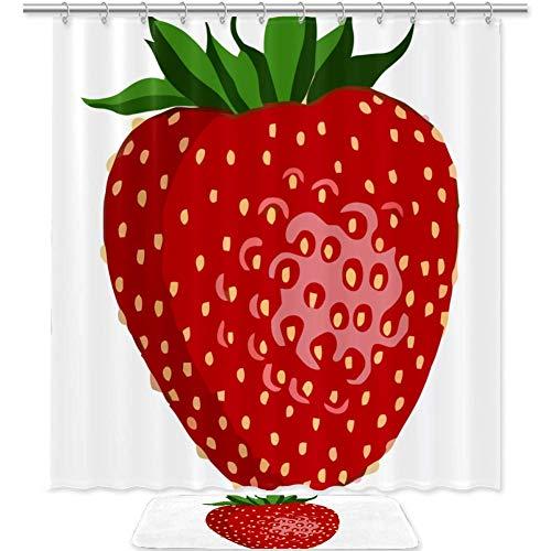 Desheze Realistische Erdbeere Duschvorhang Mit 12 Haken Stoff Wasserdicht Mehltau Badezimmer Matten Maschine Waschbar Badezimmer-Set 180x180cm/50x80cm