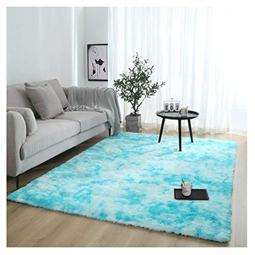 YAOTT Minimaliste Moderne Moelleux Doux Carpettes pour Chambre,Shaggy Confortable Moquette Anti-dérapant épais Tapis de Salon Bleu Clair 160 * 200cm