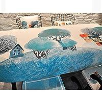 ディナーテーブルクロス 長方形のプリントディナーテーブルクロス しわのない、汚れにくい生地のディナーテーブルクロス 防塵コットンリネンテーブルクロス ビュッフェテーブルパーティーホリデーディナー、2色 ホリデーギフト (Color : A, Size : 110*170cm)