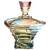 QTQHOME Realzado Cristal Bombonera con Tapa,Elegante Masa Lujo Caja De Joyas para Buffet Boda Partido Decoración del Hogar,Colorido Vidrio Tarro De Almacenamiento-Colorido 17x18cm(7x7inch)
