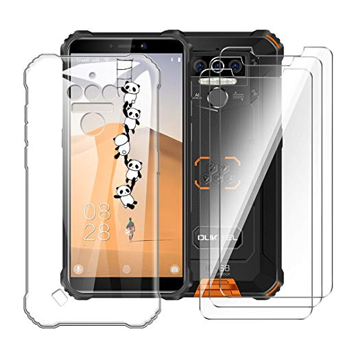 LJSM Hülle für Oukitel WP5 / Oukitel WP5 Pro + [3 Stück] Panzerglas Bildschirmschutzfolie - Transparent Weich Silikon Schutzhülle Flexibel TPU Tasche Hülle für Oukitel WP5 (5.5