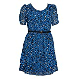 Freebird Junior's 3/4 Sleeve Fit and Flare Dress, Royal, Small