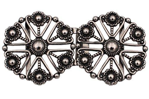 entzückende silber Trachten Schliesse Schürzen Verschluss Dirndl aus Metall mit Blumen, Größe ca.70mmx35mm, made in Germany, (1 Stück)